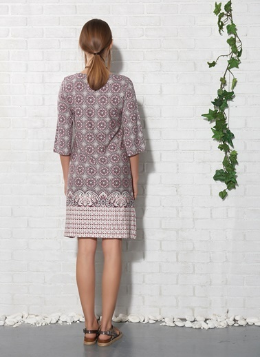 Desenli Kısa Elbise-Gizzey